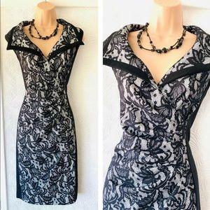 Joseph Ribkoff Black Lace Sheath Dress LN (12)